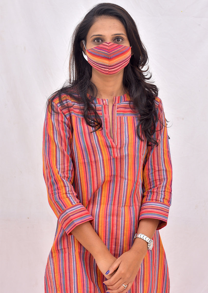 Red Stripped Straight Kurti