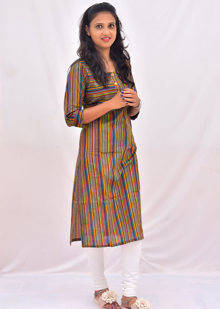 Green Stripped Embroidered Straight Kurti