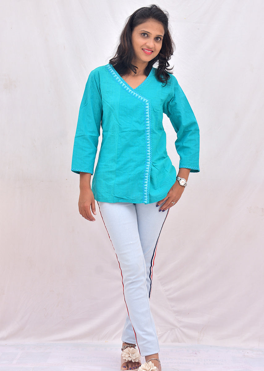 Sea Blue Embroidered Top