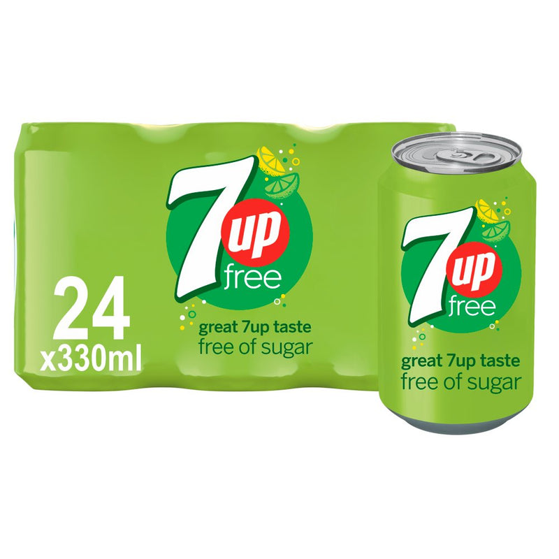 7UP Sugar Free: Soft Drink Cans - 24 x 330ml