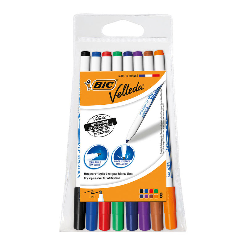 BIC Velleda 1721: Whiteboard Marker Pens, Assorted Colours - Pack of 8