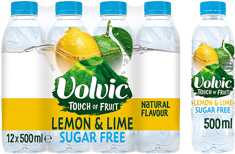 Volvic Touch of Fruit Sugar Free Lemon & Lime Flavoured Water, 12 x 500 ml