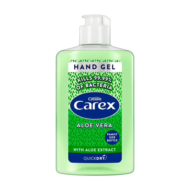 Carex Alcohol Hand Sanitiser Gel - Aloe Vera Antibacterial - Family Size - 300ml Bottle