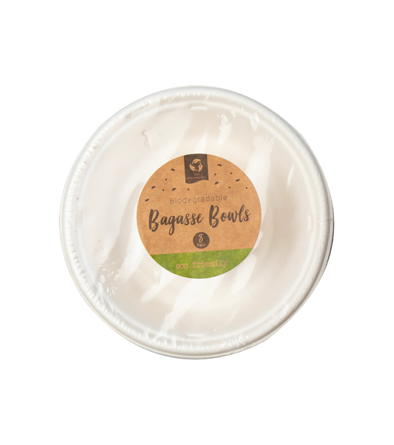 Biodegradable Bagasse Disposable Bowls  – 8 Pack