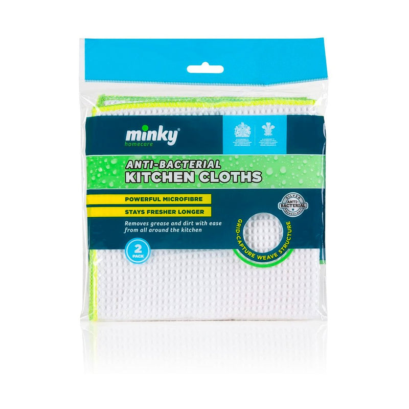 Minky Microfibre Anti-Bacterial Long Lasting Kicthen Cloths 2 Pk