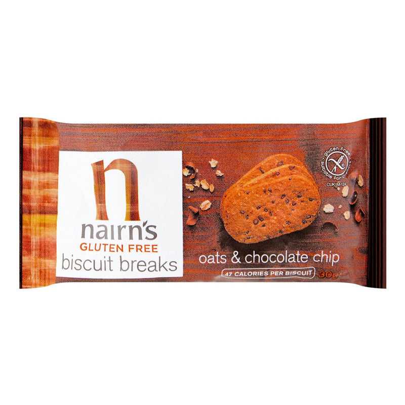 Nairns Gluten Free Oats & Chocolate Chip Biscuits Individually Wrapped - 12 x 30g  (3 Biscuits Per Pack)