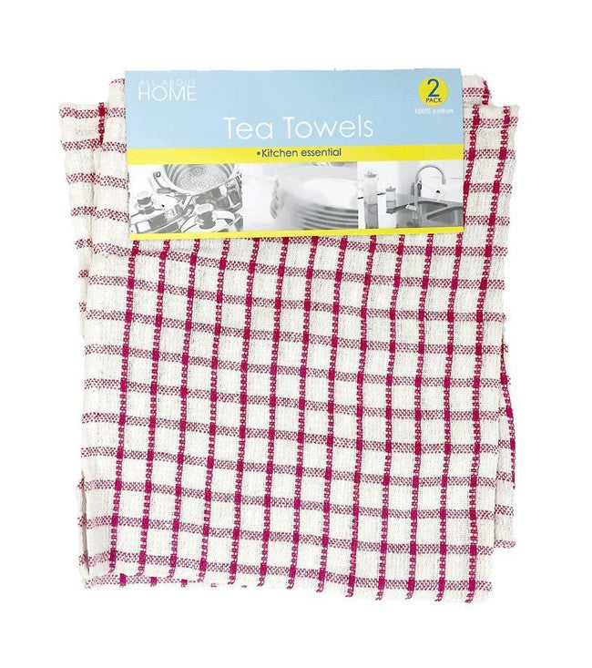 Mono Check Assorted Tea Towels - Pack of 2