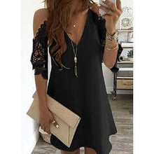 Load image into Gallery viewer, Lace/Solid 3/4 Sleeves/Cold Shoulder Sleeve Shift Above Knee Little Black/Casual/Elegant Dresses