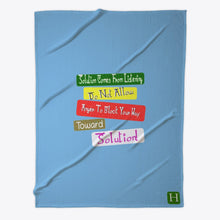 Load image into Gallery viewer, Toward Solution Quote Fleece Blanket Expression Design