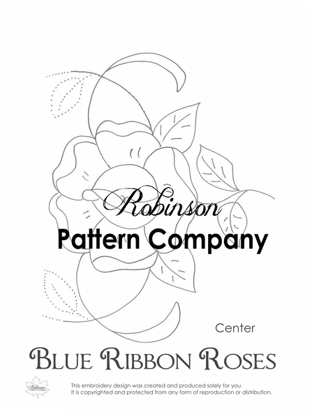 Blue Ribbon Roses Hand Embroidery pattern