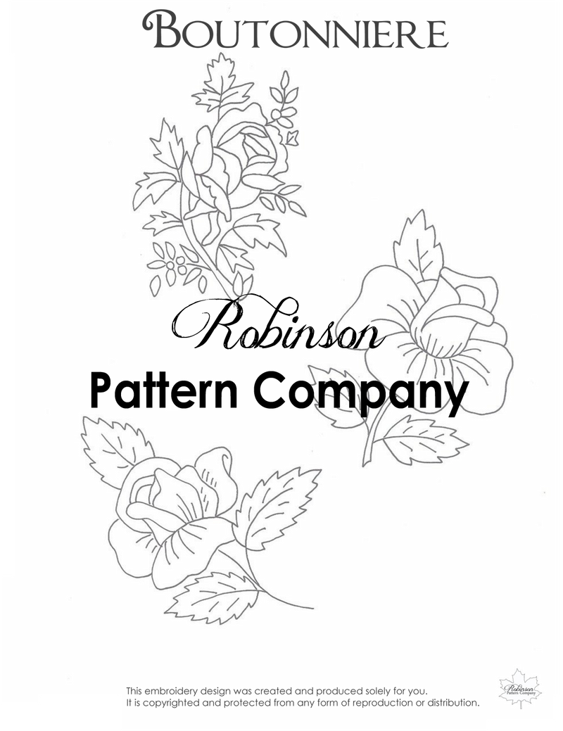 Boutonniere Hand Embroidery pattern