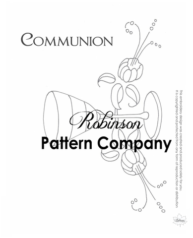 Communion Tea Towel Hand Embroidery pattern