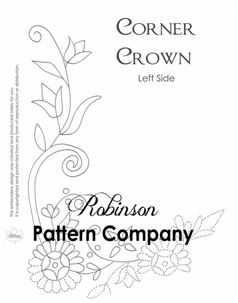 Corner Crown Hand Embroidery pattern
