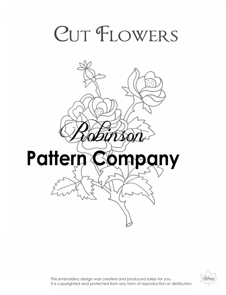 Cut Flowers Hand Embroidery pattern