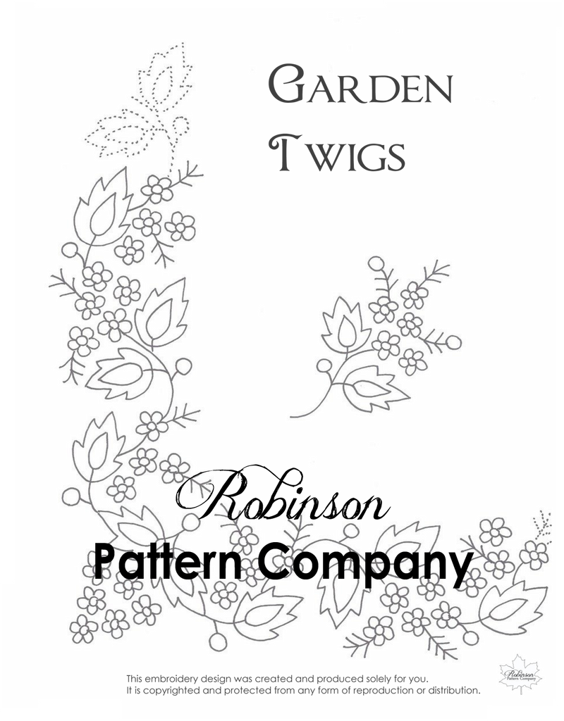 Garden Twigs Hand Embroidery pattern