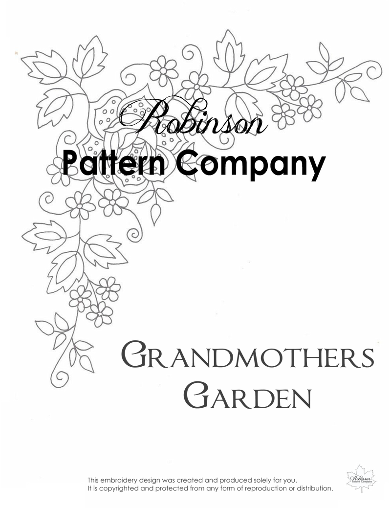 Grandmothers Garden Hand Embroidery pattern