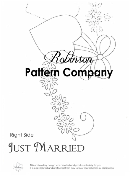 Just Married Hand Embroidery pattern