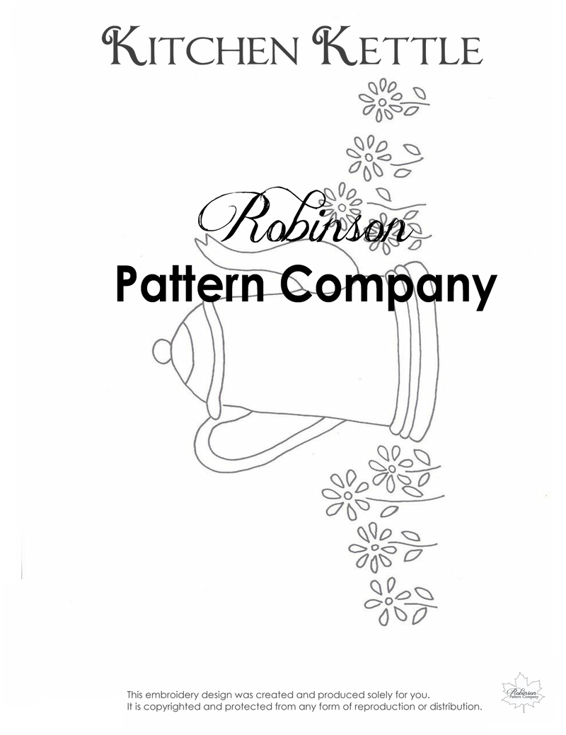 Kitchen Kettle Hand Embroidery pattern