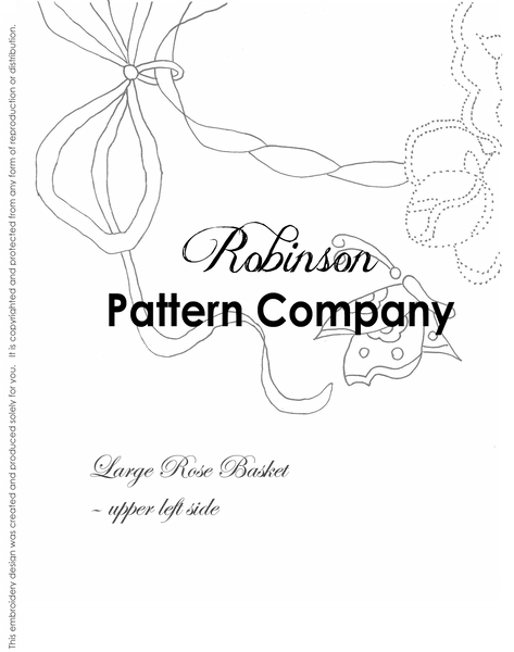 Large Rose Basket Hand Embroidery pattern