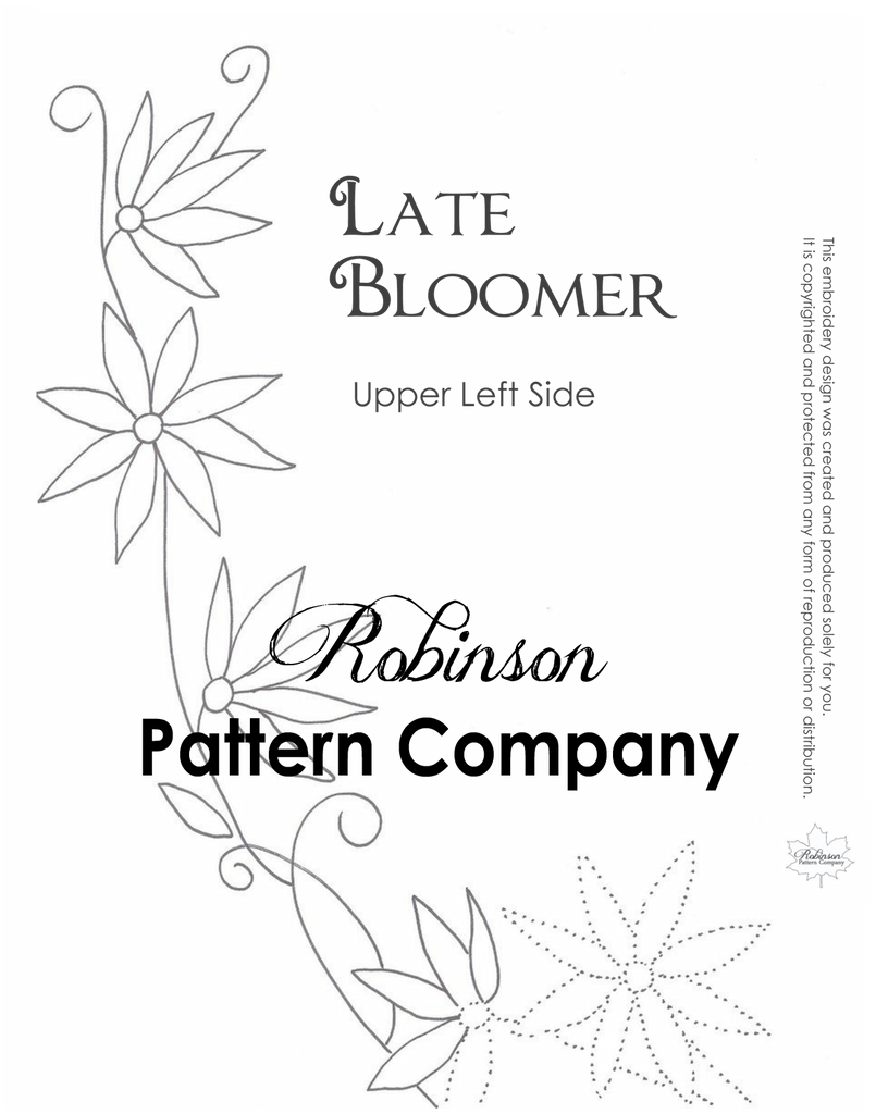 Late Bloomer Hand Embroidery pattern