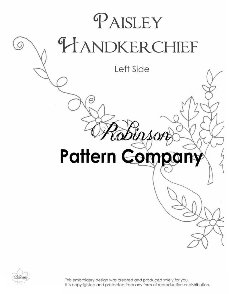 Paisley Hankerchief Hand Embroidery pattern
