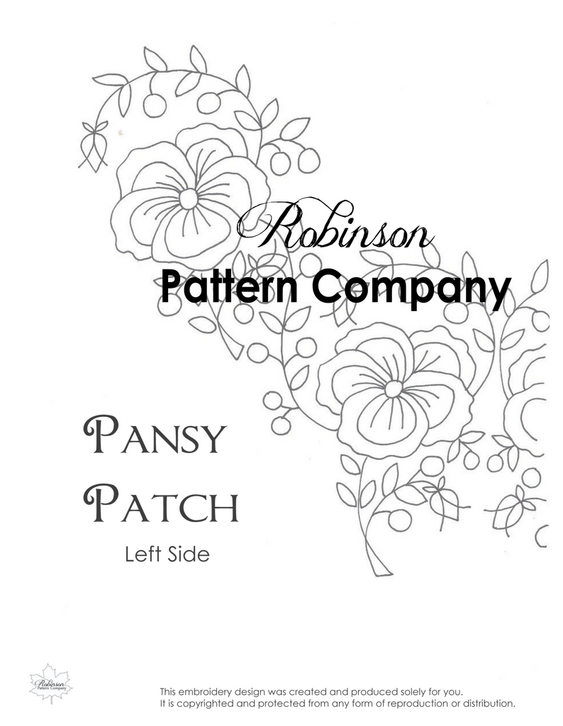 Pansy Patch Hand Embroidery pattern