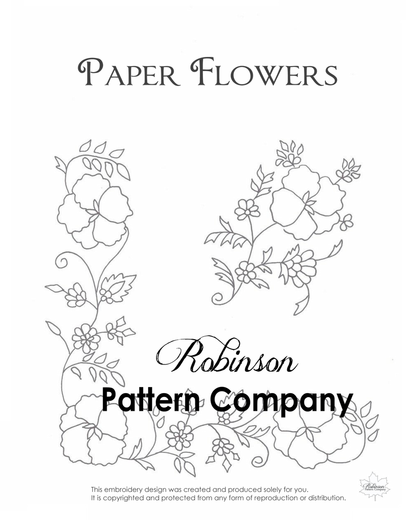 Paper Flowers Hand Embroidery pattern