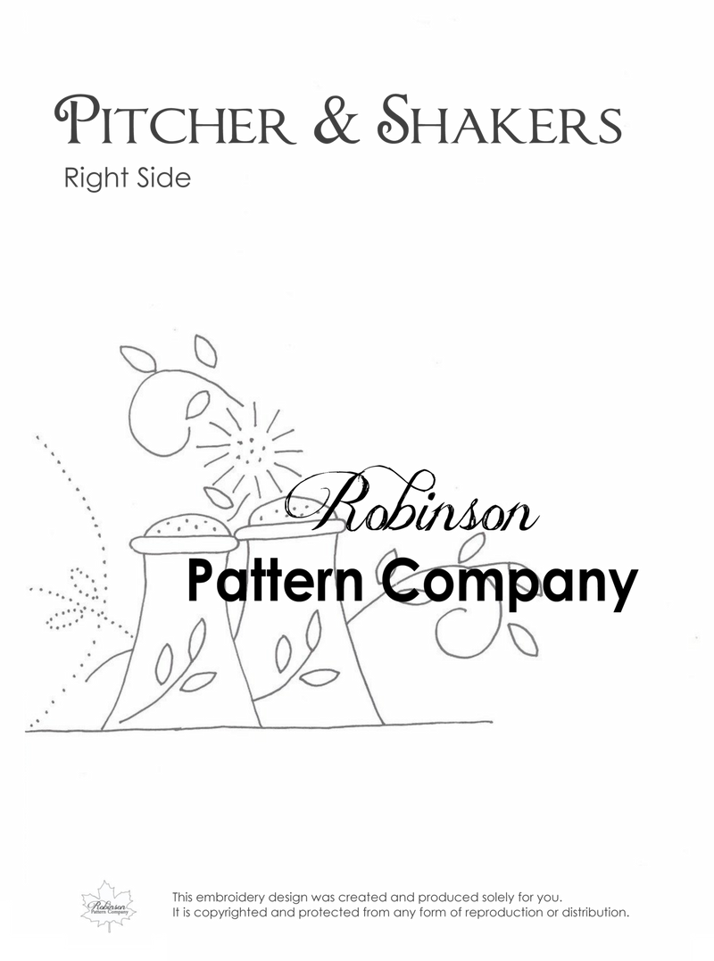 Pitcher & Shakers Hand Embroidery pattern