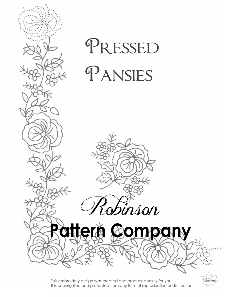 Pressed Pansies Hand Embroidery pattern