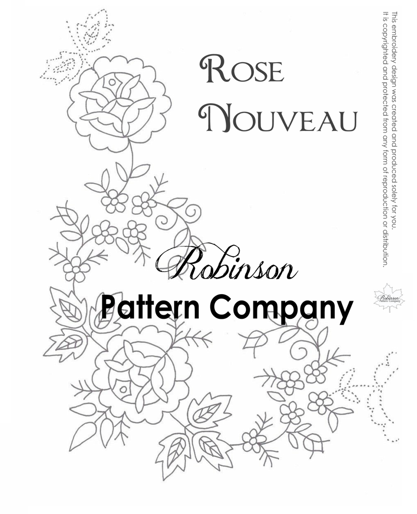 Rose Nouveau Hand Embroidery pattern