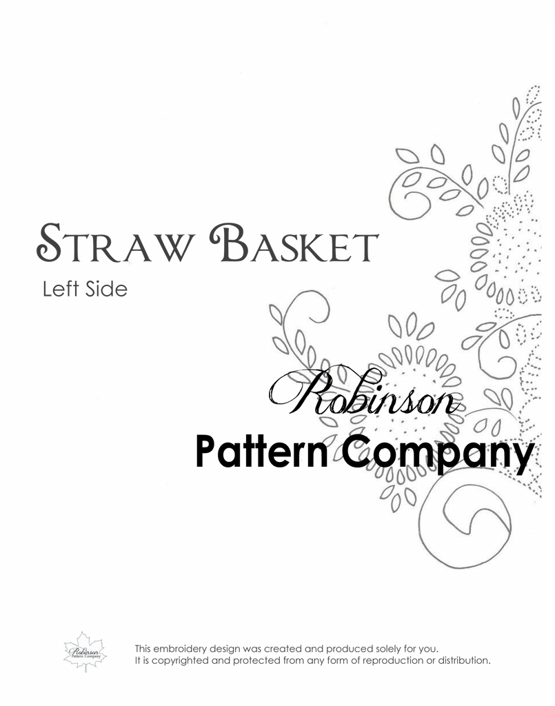 Straw Basket Hand Embroidery pattern