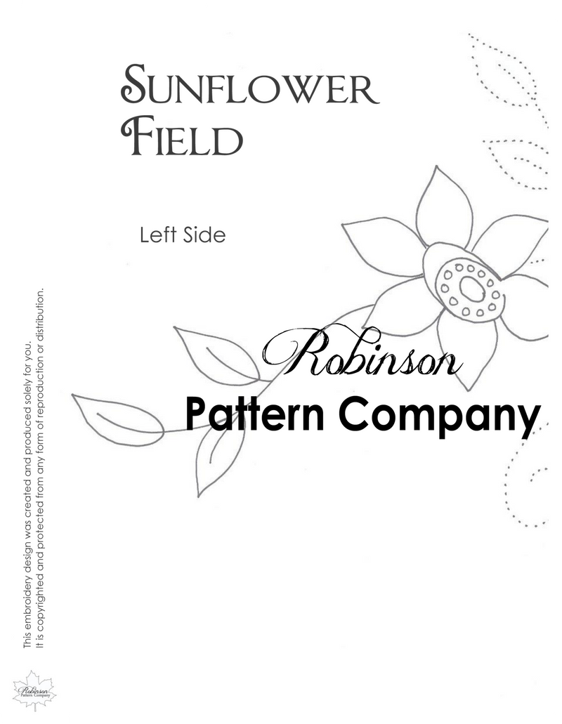 Sunflower Field Hand Embroidery pattern