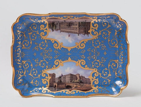 A small KPM tray with painted views