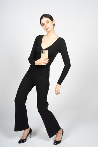 black overall jumpsuit bodysuit knitted margeamirage mid season hiver printemps 2020/21