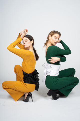 yellow and green jumpsuits with black and white kamarbandhs