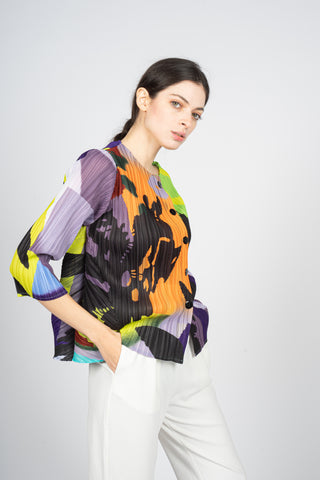 abstract multicolour print pleated shirt