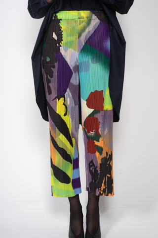 abstract multicolour print pleated pants