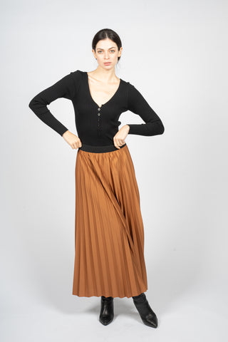 bronze long skirt with sun ray pleats