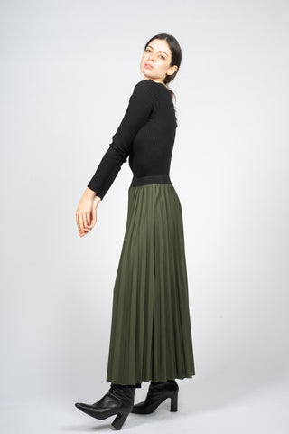 forest green skirt with long sun ray pleats