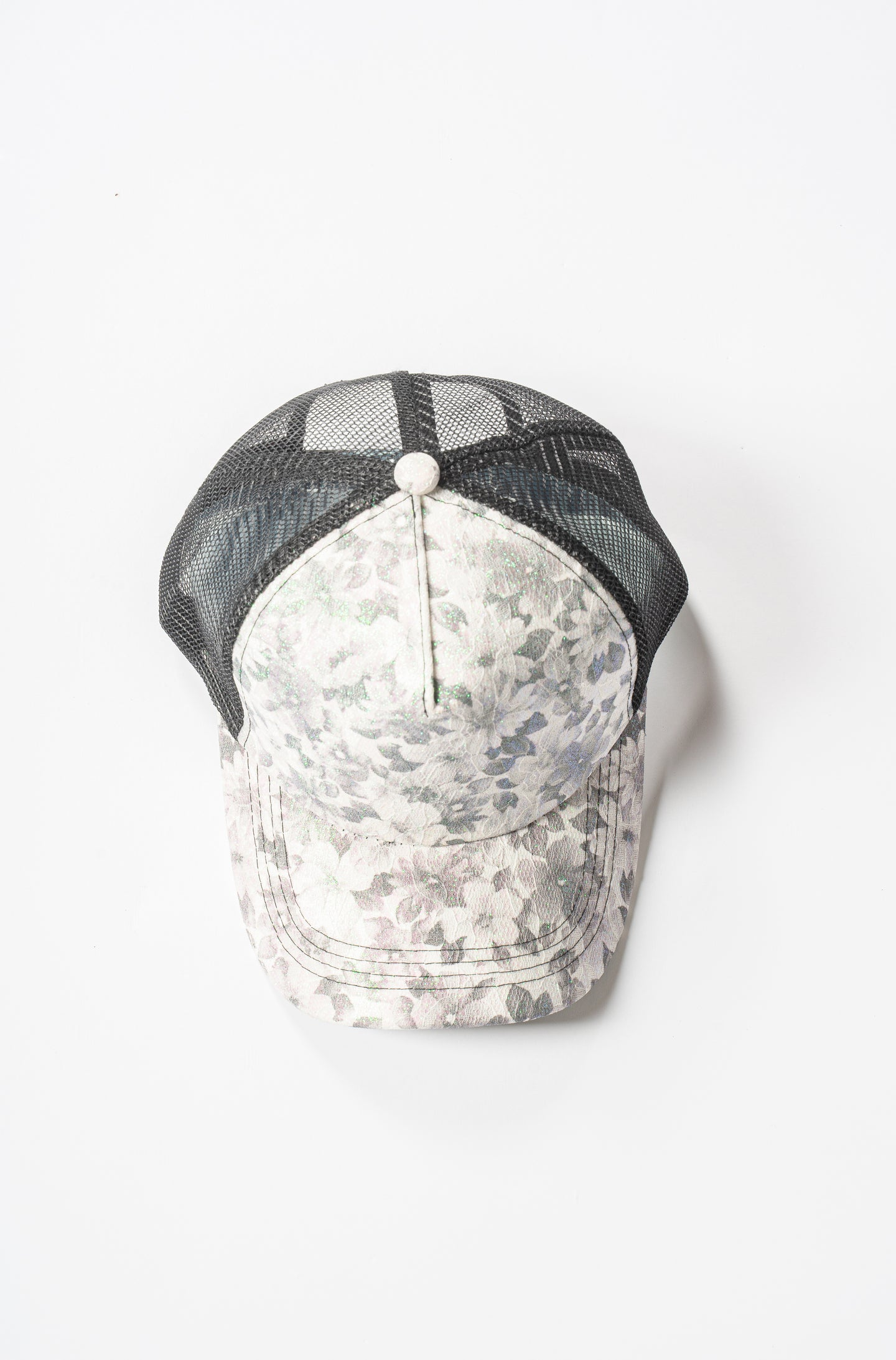 Printed Baseball Cap with Lace and Green Sparkles