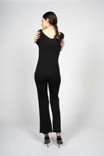 Load image into Gallery viewer, Black Knitted Jumpsuit with Front Button Opening