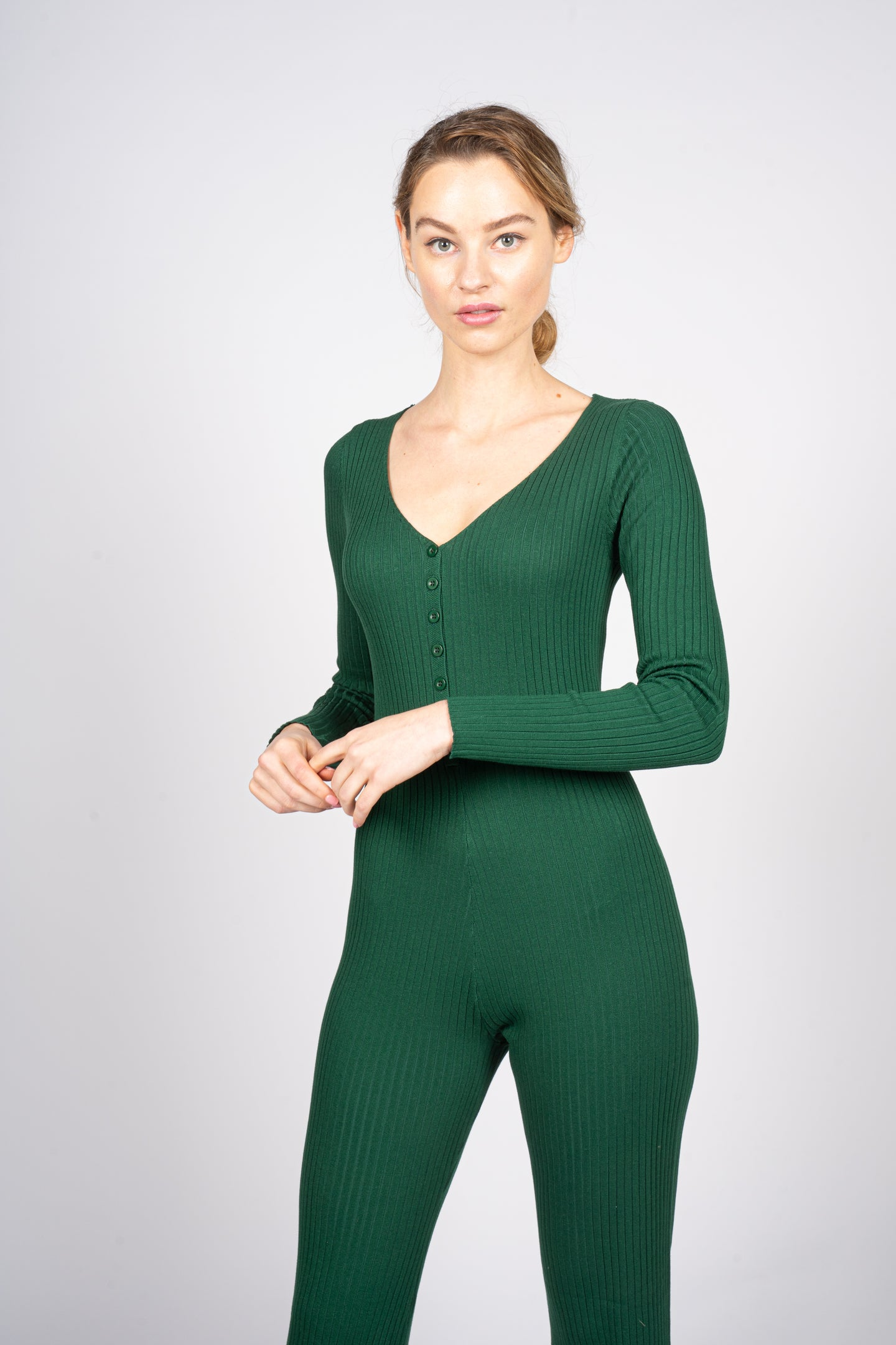 Green Knitted Jumpsuit with Front Button Opening