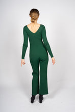 Load image into Gallery viewer, Green Knitted Jumpsuit with Front Button Opening