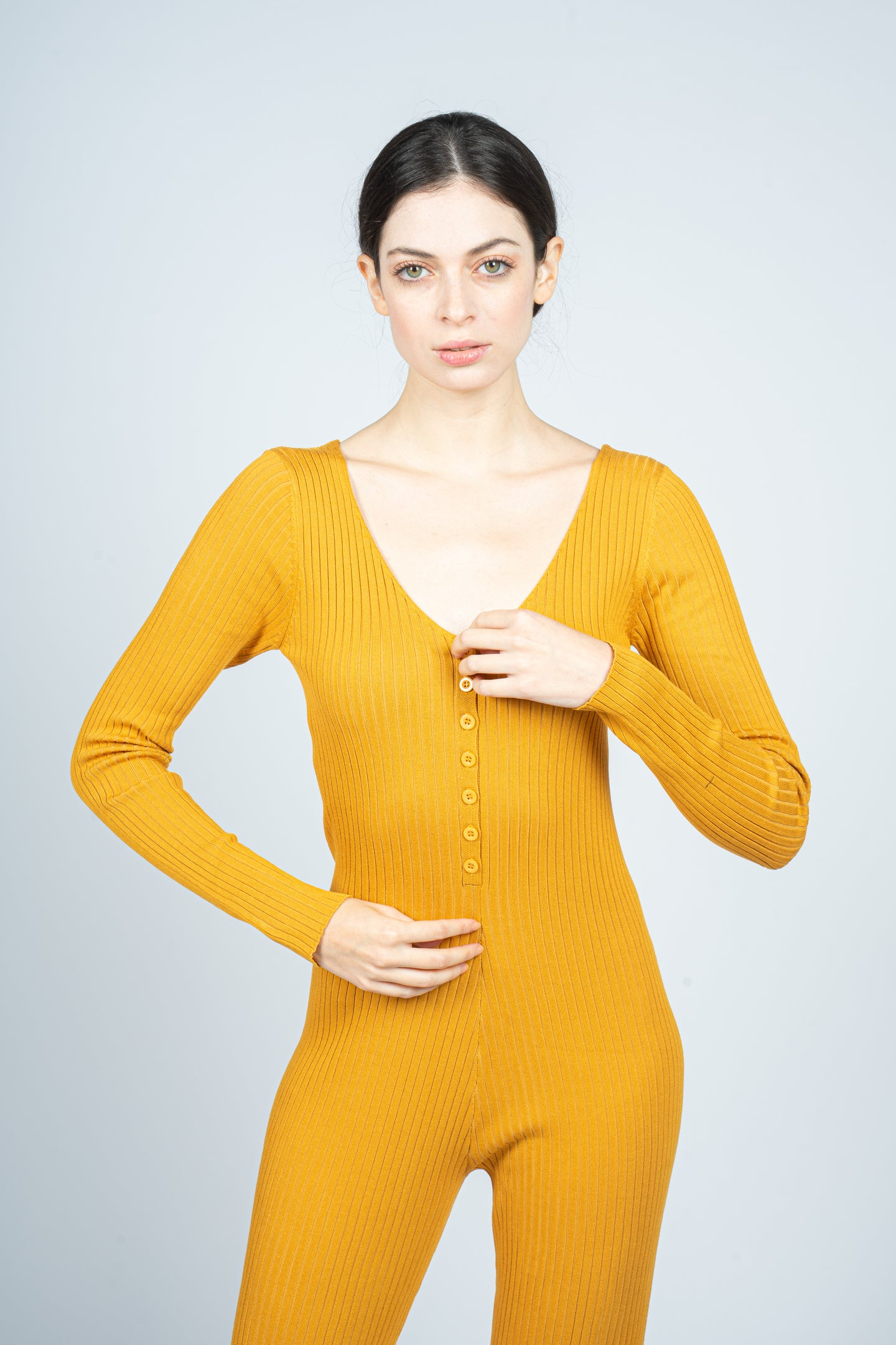 Mustard Knitted Jumpsuit with Front Button Opening