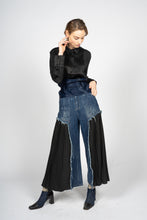 Load image into Gallery viewer, Fitted Denim Trousers with Pleated Cotton Panels