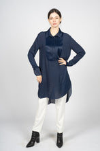 Load image into Gallery viewer, Blue Kaftan Shirt with Pleated Plastron