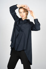 将图片加载到图库查看器,Night Blue Asymmetric Knee-Length Shirt