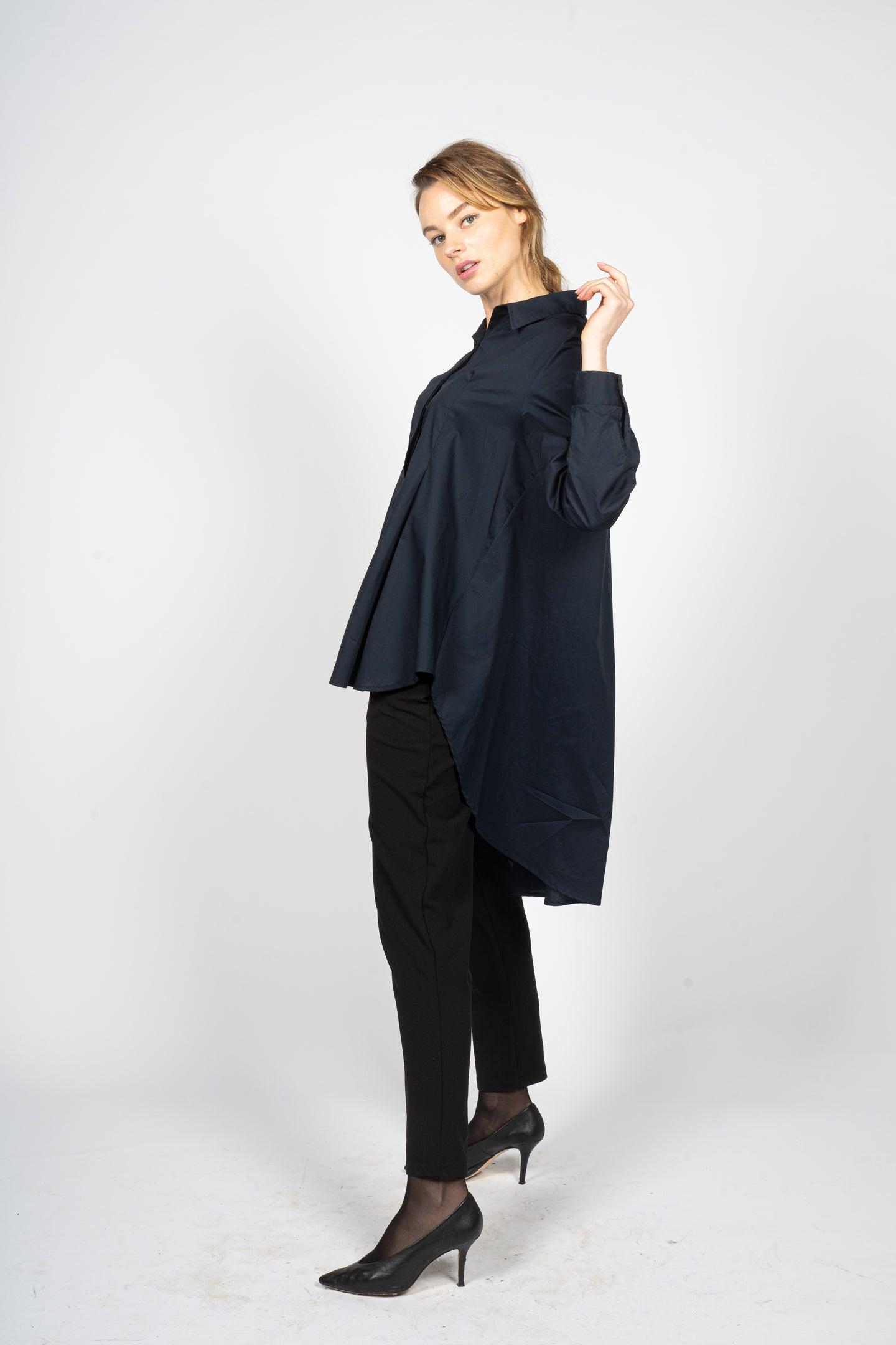 Night Blue Asymmetric Knee-Length Shirt