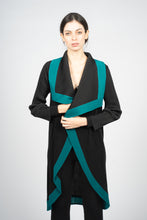 이미지를 갤러리 뷰어에 로드 , Black Pleated Vest with Cascading Collar