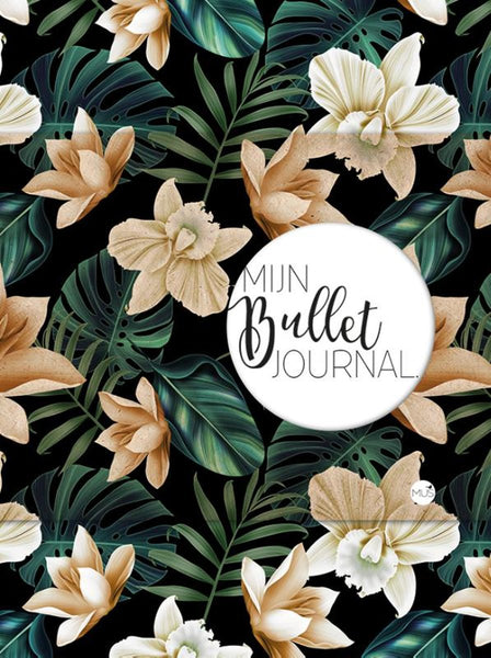 Mijn bullet journal - Black flowers